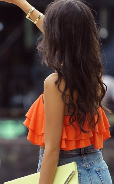 top orange short summer style fashion cute sexy