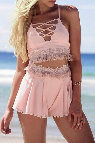 top pink two-piece summer strappy fashion style beach cropped cute girly zaful romper fringe shorts fringed top