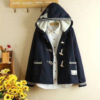 jacket coat winter outfits cute kawaii fashion style girly white casual navy teenagers hoodie back to school cats blouse pockets buttons cute outfits clothes on point