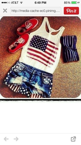 shorts american flag red white blue jeans denim july 4th blouse tank top short usa top