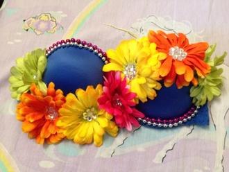 swimwear blue bra flowers rave