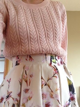 skirt pretty cute. pink skirt white skirt floral skirt