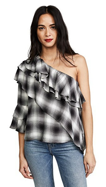 alice + olivia blouse ruffle white black top