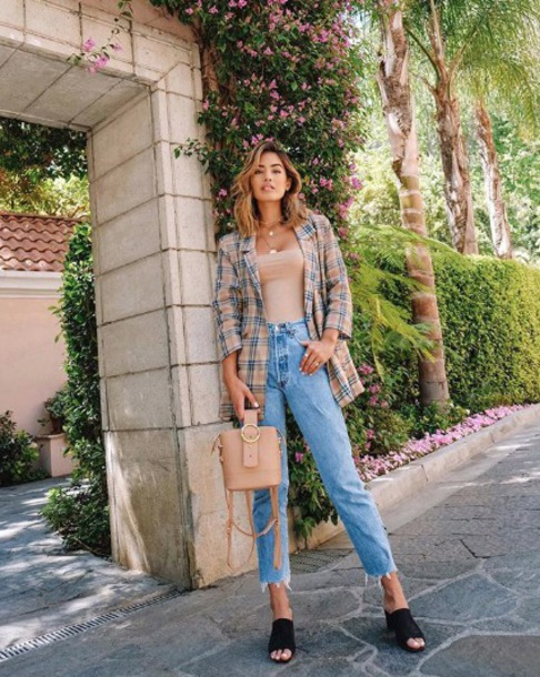 jacket blazer checkered wool mules jeans bag top chain necklace