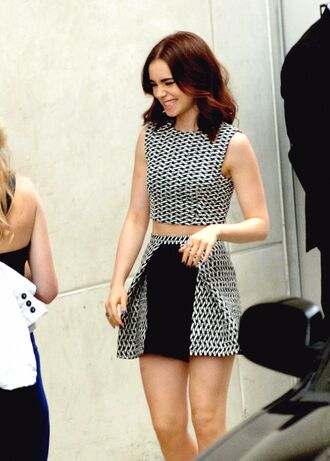shirt stylish lily collins black and white skirt dress help help help pattern cute pretty fancy pants top dogtooth