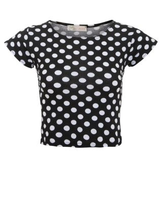 Cameo Rose Black Polka Dot Crop T-Shirt