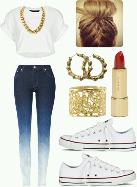 jeans jewels dress make-up