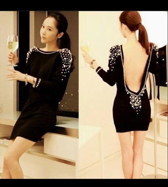 dress silver studs fashion black dress party dress trendy
