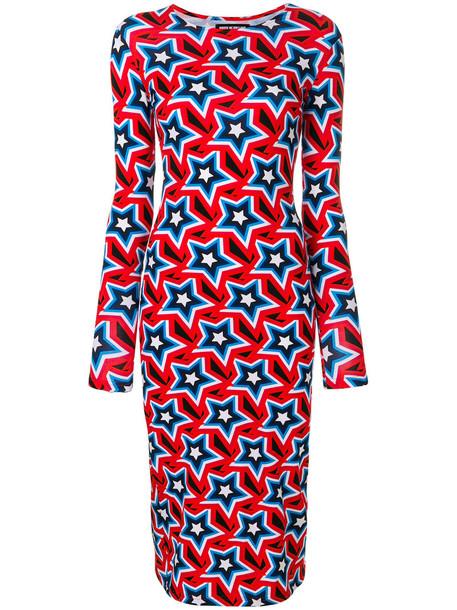 House of Holland dress print dress women spandex cotton print red
