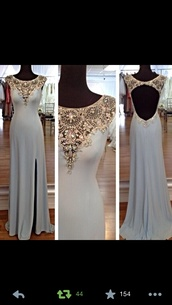 dress,prom dress,white,gown,prom gowns,long,open back dresses,long open back dress,white and gold prom dress,long prom dress,beaded prom dress,luxury prom dress,slit prom dress,sleeveless prom dress,elegant prom dress,open back prom dress