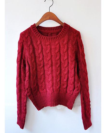 Wine Red Retro Knitted Jumper, the latest street style collection