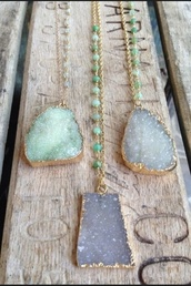 jewels,necklace,beaded,bold,stone,crystal,minerals,long necklace,gold,mint,grey,jade,raw stone