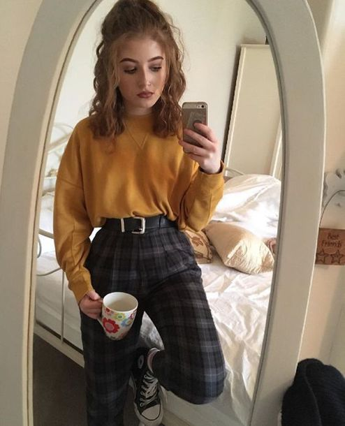pants blouse plaid pants yellow long sleeve long sleeves high waisted pants sweater tartan black women grey winter sweater yellow aesthetic high waisted dark checkered tumblr 90s style greay