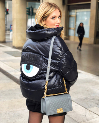 jacket tumblr puffer jacket black jacket winter jacket eyes bag grey bag chanel top blogger lifestyle chiara ferragni the blonde salad