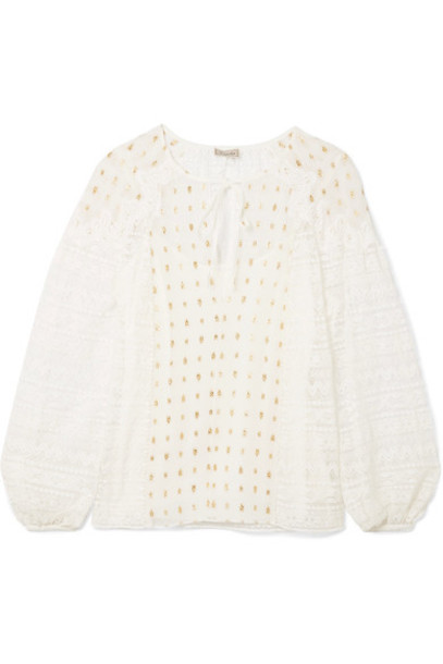 Temperley London blouse lace white top