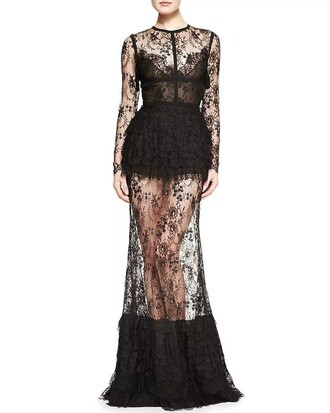 long dress lace dress gown gown set transparent