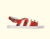 shoes,embroidered,embellished,embroidered sandals,embellished sandals,red sandals,flats,flat sandals,jeweled sandals