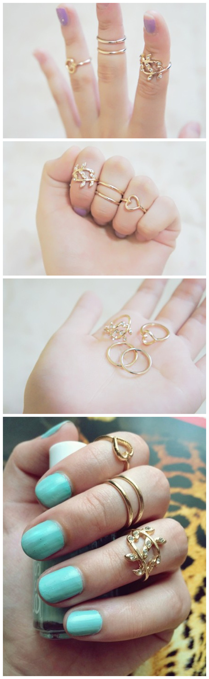 $2.83 4Pcs/set Ring Cute Heart & Leaf Shaped Ring Boho Ring Gold Plated Ring - BornPrettyStore.com