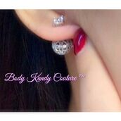jewels,body kandy couture,double sided earrings,Cz ear jacket,front back earrings,double ball earrings,earrings,ear jewelry,earings,ball earrings,silver ball earrings,stud earrings,double sided studs,unique earrings,filigree earrings,bridal earrings,bridal ear jacket,earring jacket,two sided earrings,trendy,chic jewels,silver earrings,wedding earrings,bridal jewelry,stylish,dainty,elegant earrings,fashion jewelry,glamour