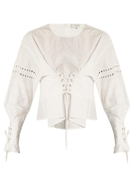 SEA blouse cotton white top