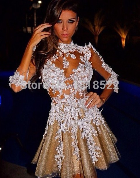 4d7708f4a9b Aliexpress.com   Buy Fashionable Champagne Tulle White Lace Appliques Long  Sleeve Short Prom Dresses 2015 Sexy ...