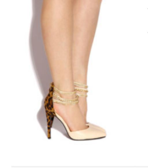 animal print nude chain high high heels