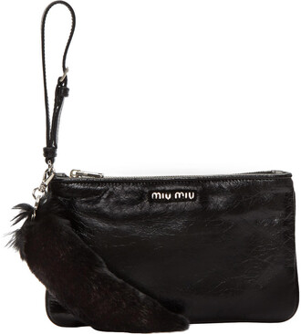 fur pouch leather black black leather bag