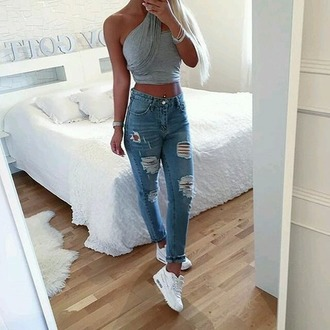 jeans ripped jeans crop tops shoes white grey outfit idea