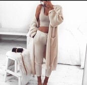 cardigan,sweatpants,tan,tank top,crop tops,purse,long sleeves,long cardigan,nude,nude cardigan,party outfits,cute,girly,date outfit