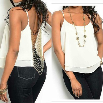 blouse ivory chain link sleeveless top ivory gold chain top sleeveless top stushico.com
