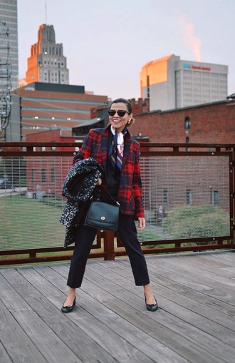 mysmallwardrobe blogger coat jacket blouse scarf pants bag sunglasses shoes fall outfits shoulder bag blazer black pants