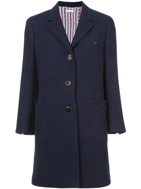 Thom Browne overcoat back women navy blue silk wool coat