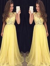 dress,yellow,lace,tulle skirt,prom dress,fashion,formal dress,stylish,prom,maxi,maxi dress,style,floral,flowers,lemon,cute,cute dress,bridesmaid