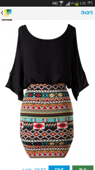 homecoming dress tribal pattern tight skirt skirt