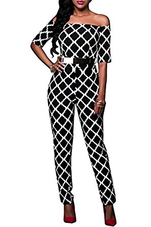 Amazon.com: Lovaru Women's Fashion Off Shoulder Flower Ruffle Hem Bodysuit Skinny Jumpsuit: Clothing