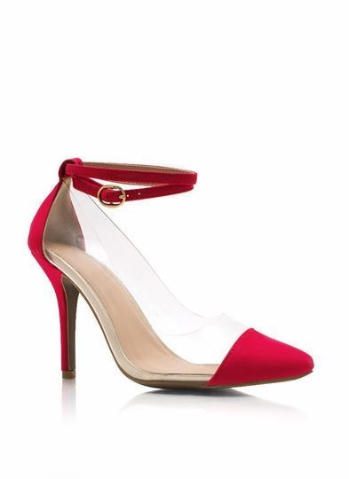 Red Ankle Strap Heels PVC Clear | eBay