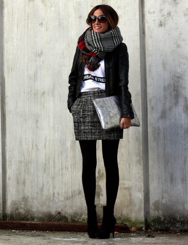rebel attitude jacket t-shirt skirt scarf bag shoes jewels