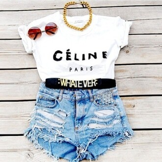 shorts t-shirt jewels