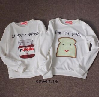 top couple soulmate nutella bread food fashion cute weheartit couple sweaters couples shirts soulmate shirts