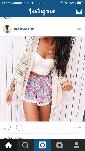 shorts floral high waisted shorts white crop tops white cardigan cardigan earphones