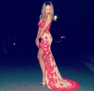 prom dress prom gown need it please lace dress red dress dress nude dress