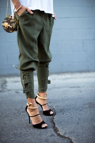 pants military style khaki pants buckles