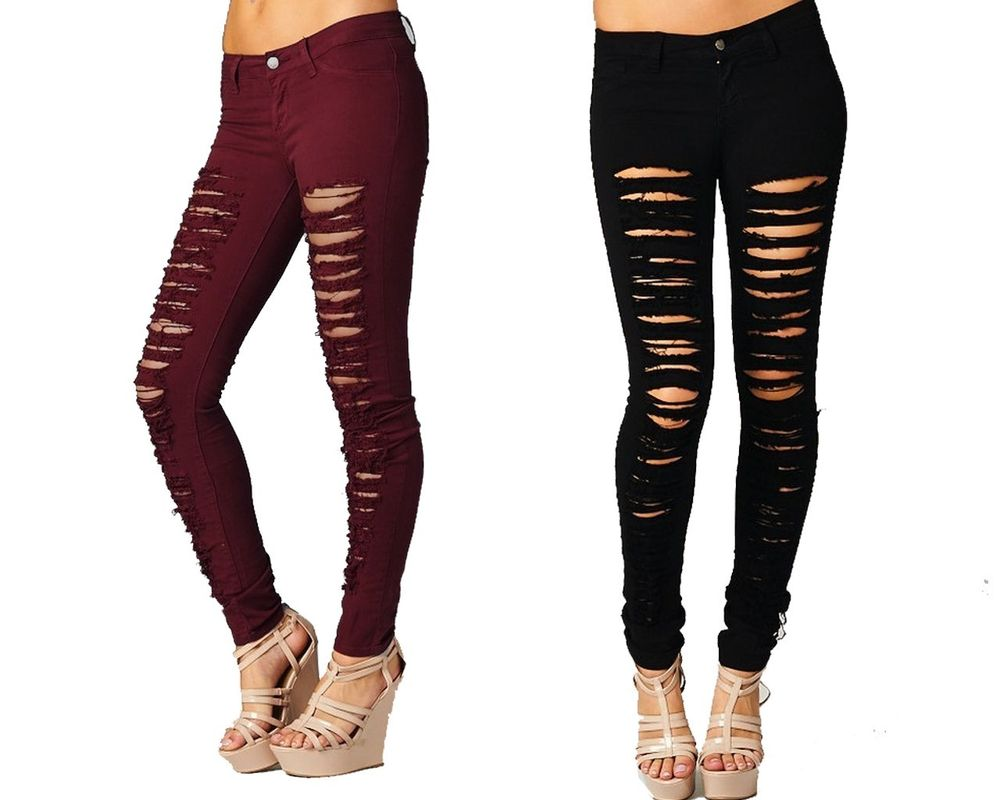 2a8bb9c2656 Destroyed Skinny Jeans Red Black Khaki Green Women Denim Ripped Colored  Pants