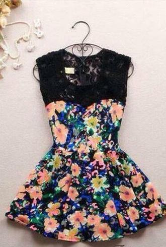 dress flowers black short blue orange