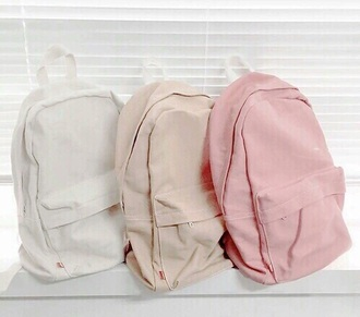 bag backpack cute pastel school bag pastel bag pink white beige nude tumblr