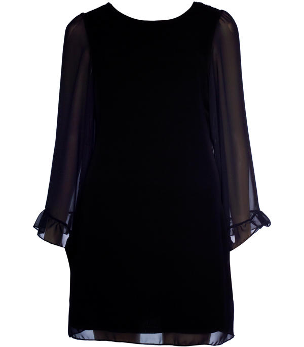 Womens black single frill sleeve chiffon smock dress