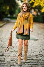something delightful,blogger,skirt,sweater,scarf,shoes,bag,jewels,dress,fall outfits,fall colors,suede boots,knee high boots,suede skirt,green skirt,yellow sweater