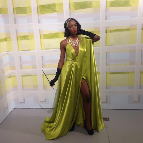 dress, dress, green dress, lime, gown, silk, slit dress, slit ...