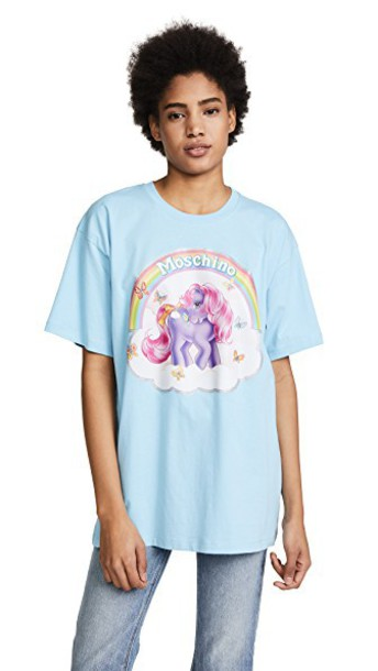 Moschino oversized light blue light blue top