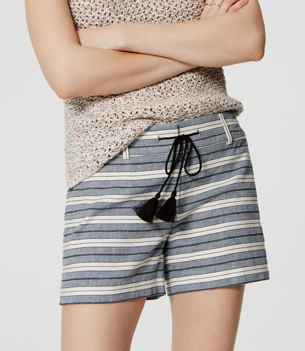 shorts striped shorts tassel blue and white